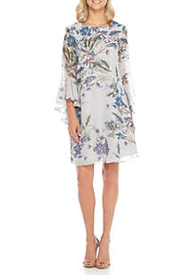 Cascading Sleeve Printed Shift Dress