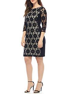 Lace Ponte Shift Dress