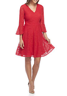Lace Bell Sleeve Fit-And-Flare Dress