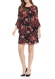 Short Sleeve Chiffon Shirred Blouson Dress
