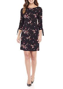 3/4 Sleeve Printed Dress With Tie Sleeves