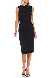 Sleeveless Lace Mock Neck Sheath Dress