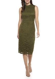 Sleeveless Lace Mock Neck Sheath Dress
