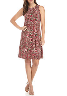 Sleeveless Print Trapeze Dress
