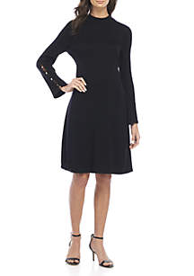 Long Sleeve Rib Flare Sleeve Sweater Dress