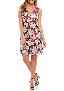Sleeveless Jacquard Double V-Neck Dress