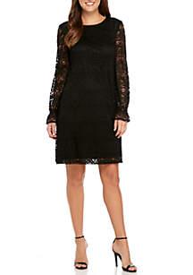 Lace Crochet Zig Zag Shift Dress