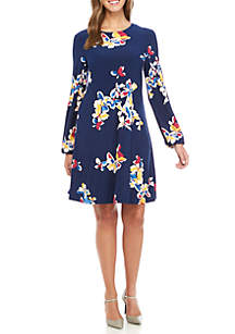 Long Sleeve Watercolor Printed Dress