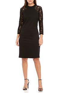 Long Sleeve Mock Neck Lace Combo Sheath Dress