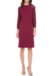 Long Sleeve Mock Neck Lace Combo Sheath Dress