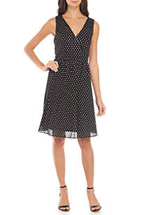 Sleeveless Charmeuse Dot Fit-And-Flare Dress