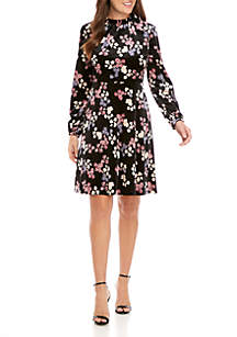 Printed Velvet Long Sleeve Ruffle Neck Dress