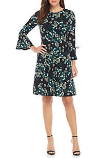 3/4 Bell Sleeve Printed Fit-And-Flare Dress