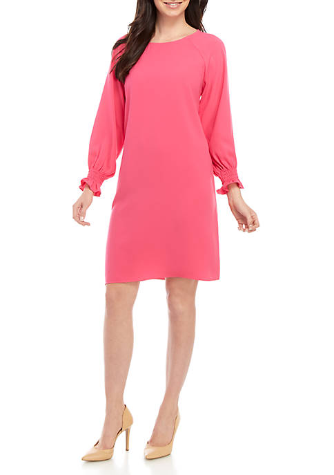 Shift Dress with Blouson Sleeves