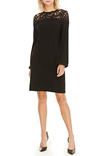 Long Sleeve Lace Yoke Shift Dress