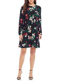 Long Sleeve Tulip Print Dress