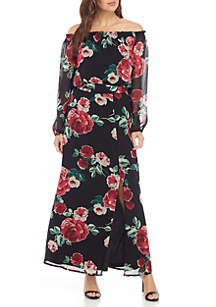 Long Sleeve Printed Chiffon Maxi Dress with Sash