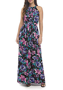 Pleated Halter Print Maxi Dress