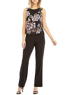 Floral Overlay Bodice Jumpsuit