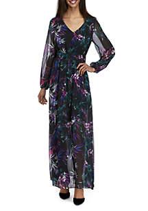 Faux Wrap Printed Maxi Dress