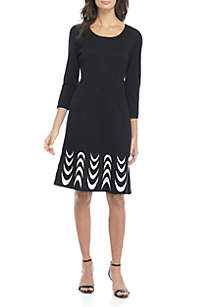 3/4 Sleeve Jacquard Sweater Dress