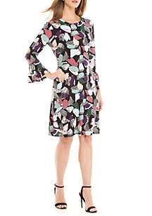 Bell Sleeve Fit And Flare Print Dress