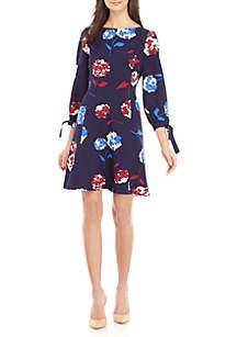 3/4 Tie Sleeve Floral Dress