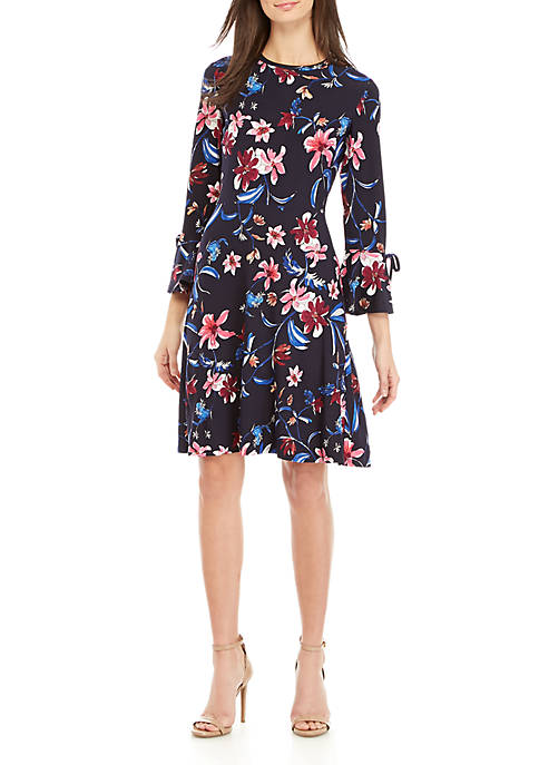 Nine West Bell Sleeve Floral Fit and Flare