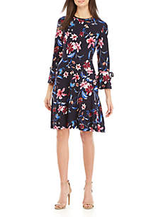 Bell Sleeve Floral Fit and Flare Dress