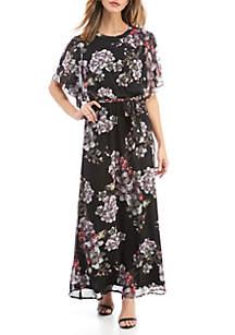 Nine West Flutter Sleeve Floral Maxi Dress