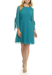 Nine West Long Sleeve Metallic Clip Dress