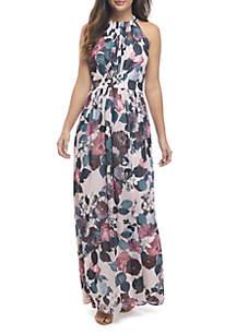 Halter Pleat Bodice Maxi Dress