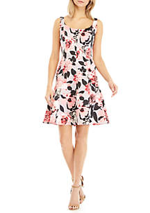 Sleeveless Print Satin Fit And Flare Dress