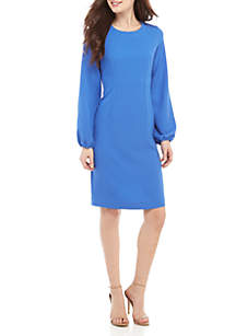 Nine West Long Sleeve Textured Crepe Dart Dress