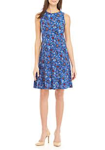 Sleeveless Floral Quilt A-Line Dress