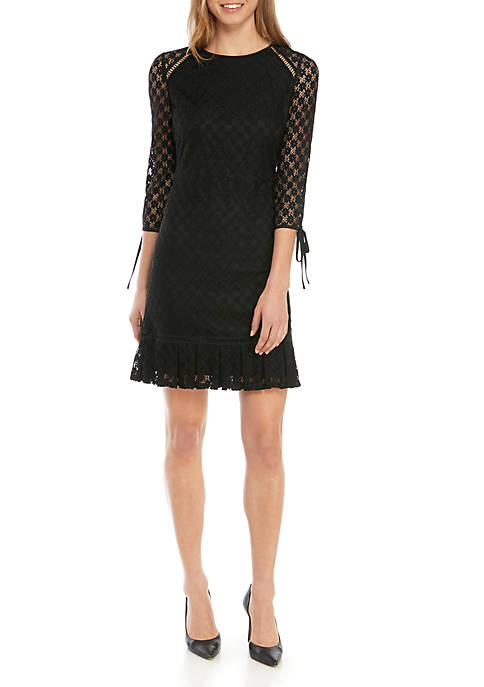 Nine West A Line Lace Dress with Binding