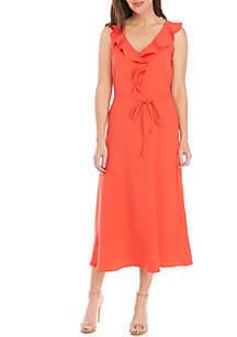 Nine West Sleeveless Tulip Skirt Flounce Neck Dress