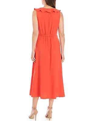 df5707078ce8 ... Nine West Sleeveless Tulip Skirt Flounce Neck Dress