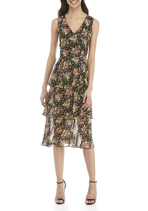 Sleeveless V-Neck Tiered Midi Dress