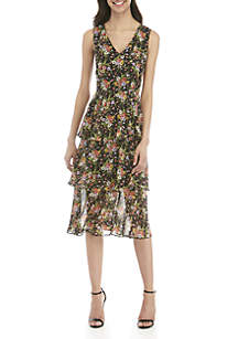 Nine West Sleeveless V-Neck Tiered Midi Dress