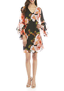 7bf0402a5cb ... Nine West Long Cascade Sleeve Print Shift Dress