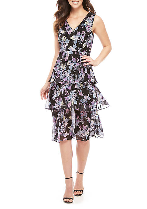 Sleeveless V Neck Tier Midi Dress