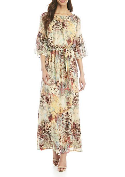 Long Sleeve Maxi Dress with Sash Waist