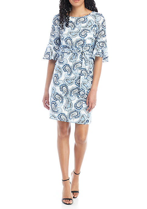 Bell Sleeve Printed A Line Dress