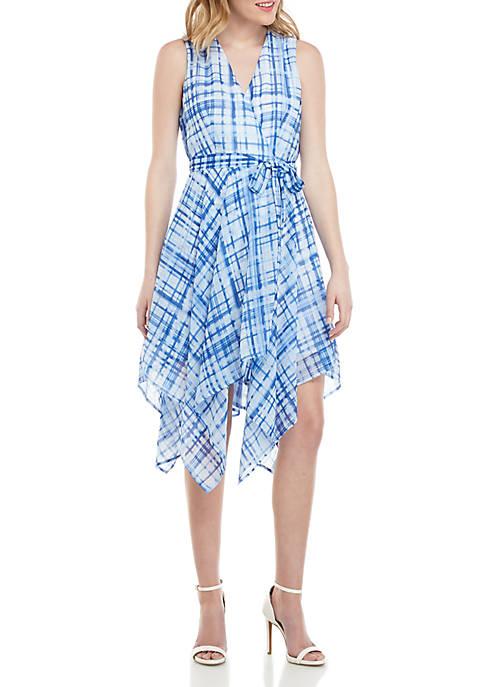 Sleeveless Wrap Handkerchief Hem Dress