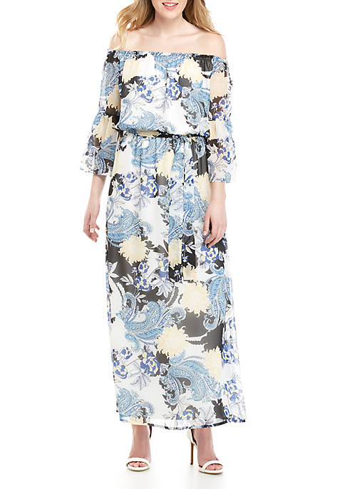 Bell Sleeve Off The Shoulder Floral Maxi Dress