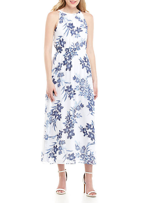 Smocked Halter Floral Maxi Dress