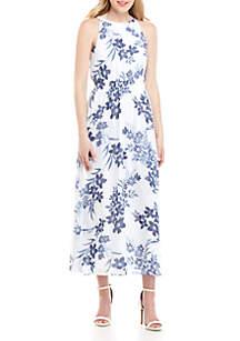 Nine West Smocked Halter Floral Maxi Dress