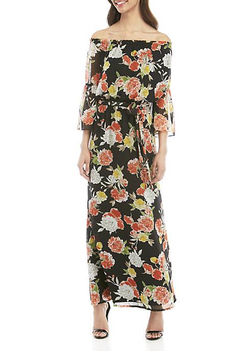 Bell Sleeve Printed Maxi Dress with Sash Waist