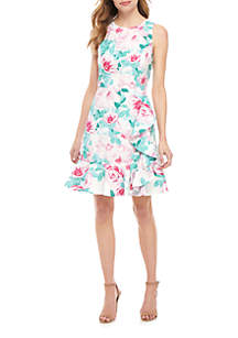 259a627278a ... Nine West Sleeveless Floral Ruffle Hem Dress